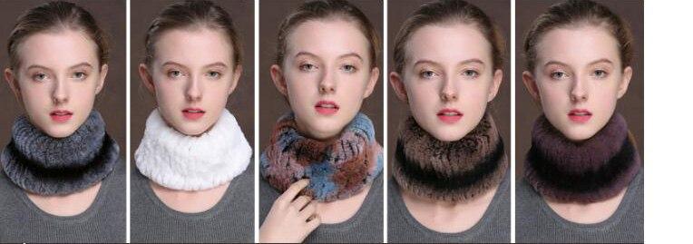 Winter Fur Headbands For Women Knitted Rex Rabbit Fur Scarf Hats Natural Fur Ring hairband Neckwarmer female (1)