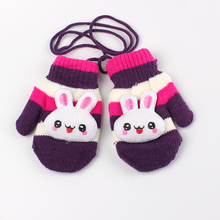 Children Gloves Hanging Knitted Character Rabbit Winter Kids Gloves Cotton Cute Baby Mittens Double Warm Boys Girls Gloves 2017(China)