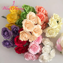 144pcs 3.5cm Artificial Handmade Mulberry Paper Rose Bouquet Scrapbooking Accessories Garland Candy Box Wedding Decoration