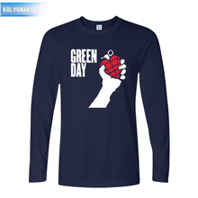 KOLVONANIG 2017 New Arrival Green Day Printed T Shirt Men Fashion Big Size Long Sleeve O-Neck Cotton T-shirt Tops Tee Clothing(China)