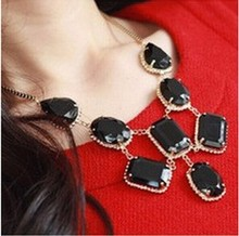 New Fashion  Elegance Droplets Black Imitation Gemstone Necklace Long Sweater Chain Pendant 4ND149
