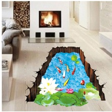 AP 17 Hot Selling Fast Shipping DIY Fishponds 3D Bathroom Wall Stickers Anti Slip Floor Living Lotus Goldfish Pattern Waterproof
