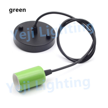 Multi color E27 lamp holder with 100mm base ceiling plate Ceiling Base Rose Canopy cord set lamp cup Lighting accessories green