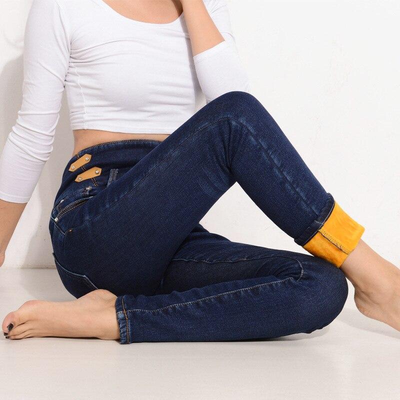 Winter Warm thick velvet skinny jeans Pants for woman Plus size 34 Blue demin trousers Skinny ladies pant Femme Pantalon MZ976Одежда и ак�е��уары<br><br><br>Aliexpress