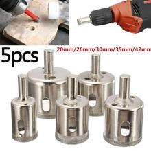 5Pcs 20/26/30/35/42mm Diamond Hole Saw Coated Core Set Drill Tile Ceramic Glass Porcelain Marble Granite Slate Wall Ceiling Tool