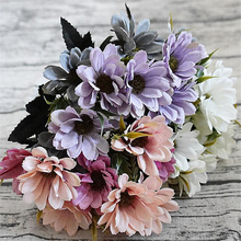 10Heads small silk European daisy Artificial Chrysanthemum Flower flores bouquet for Home decoration cheap fake Flowers(China)