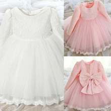 BS#S 2017 Baby Girl Pink Long Sleeve Dresses Party Princess Baby Girl Bow Wedding Dress AO#P