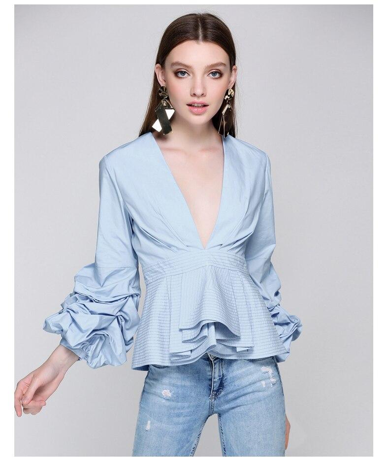 SIPAIYA 2017 New Fashion Sexy Deep V neck Lantern Sleeve OL Blouse Womens Shirt Tops Summer Blusas