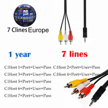 HD ccccam cline for 1 year europe 7Lines AV Cable 7Clines Satellite Receive for V8 Super iBravebox F10S DVB-S2 V8 Finder V7 HD(China)