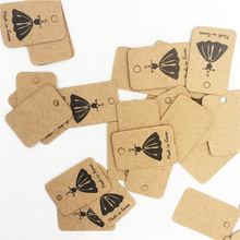 2x3cm Small Black Skirt Square Kraft Paper Tags Clothing Hang 500Pcs/Lot Recycle Craft Paper Tags Can Custom With Logo H0272(China)