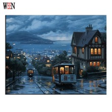 WEEN Night Bus Painting Pictures By Numbers DIY Hand Painted DIY Coloring By Numbers Cuadros Decoracion Canvas Wall Art 2017