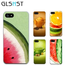GLSHST For iphone 5 5s se 6 6S 4 4s Fruit series phone cases hard shell iced watermelon Creative lemon orange coque cover
