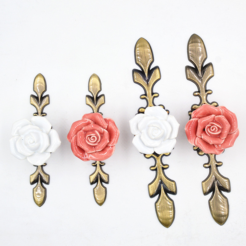 4Types Pink White Rose Flower Ceramic Alloy Base Door Handles Kitchen Cupboard Closet Drawer Cabinet Knobs Furniture Pulls Knob(China)