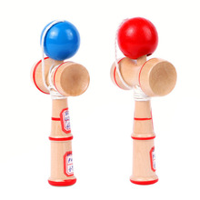 HOT Japanese Kids Health Traditional Wood Game Balance Skill Ball Blue/Red Educational Funny Learning Toy W20(China)