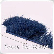 Free Shipping 10yards/lot pprox10-15CM Navy Ostrich Fringe Feathers Jewelry/ Craft /Dress/ Hat Decor Ostrich Feather Trim(China)