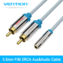 Vention RCA Cable 2 RCA Male to 3.5 mm Jack Female Audio Cable 1m/1.5m/3m Adaptor Cable For DVD/CD/MP3 Aux Cable(China)