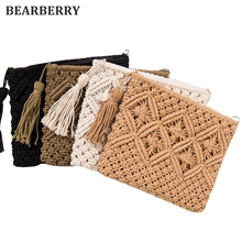 BEARBERRY 2017 high quality fashion women hollow out clutch bags brand tassel beach bags handmade kont message bags MN583