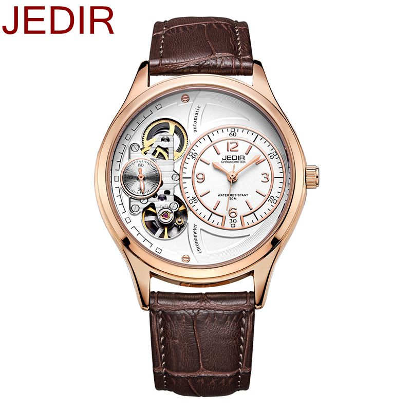 Jedir mechanical watch men Chronograph Sport Watches Skeleton Dial with Date Counters Business Rose Gold Unique Watches<br><br>Aliexpress