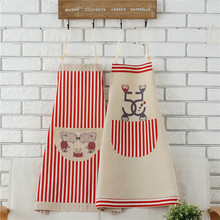 Pastoral Small Fresh Korean Version Of Cotton And Linen Printing Private Custom Apron Stitching Lattice Apron CWT041