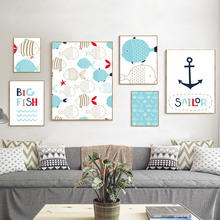 Marine Animals Posters And Prints Wall Art Canvas Painting Wall Pictures For Kids Room Nordic Home Decoration