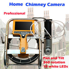 Pan and tile chimney inspection camera 18pcs led lights with 7inch monitor DVR recording 360 degree panning rotation(China)