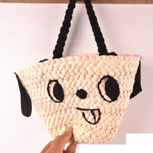 Smile Face Want Small Dog Style Cartoon Cute Hand Carry Straw Bag Basket Bag Wool Embroidery A4215~1(China)