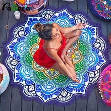 150 cm Lotus Print Round Beach Towel Large Yoga Mat Colorful Indian Mandala Throw Bath Towel For Adult Tablecloth Picnic Blanket