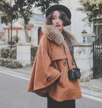 2016 autumn winter loose vintage large raccoon fur collar cloak woolen women's cape cashmere manteau camel red double breasted