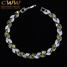 CWWZircons Brand 7 Color Options Clear White And Dark Olive Green Lovely Cubic Zirconia Bracelets For Women Gifts CB134(China)