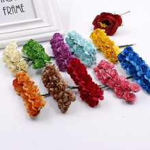 12pcs / lot1cm multi-color flower head man-made paper roses for wedding decoration gifts(China)