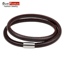 2017 NEW Fashion Jewelry Handmade alloy 2 color magnetic PU Leather Bracelets Women Charm Bangle Wholesale Free Shipping BQN113