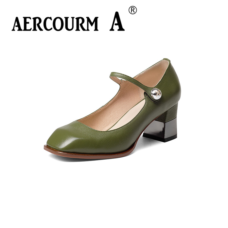 Aercourm A Women Shoes Women High Heels Lady Pumps Big Size 34-43 Autumn High Heel Genuine Leather Lady Shoes Black/Green H902<br>