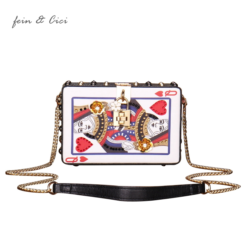 Playing CARDS bag women cute Hearts poker pattern A J Q K box chains rivets messenger bag appliques party totes handbag 2018 new<br>