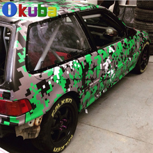 Digital Camo Vinyl Roll Car Truck Wrapping Sticker Green Urban Digital Camouflage Film Graphic 1.52*30m/roll