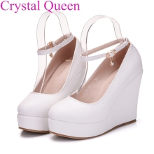White Elegant wedges shoes wedges pumps for women platform high heels round toe white high heels shoes platform wedges shoes