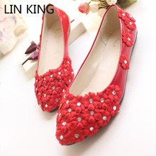 LIN KING New Handmade Women Dress Wedding Flat Shoes Fashion Rhinestone Lace Flower White and Red Bride Flats Size 35-40