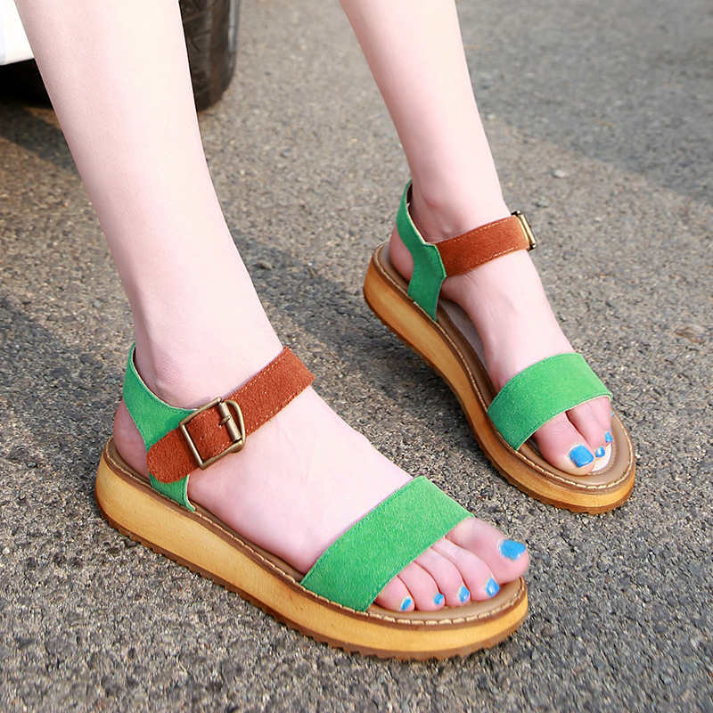 Women Shoes 2017 Summer New Leather Large Size Ladies Fashion Sandals Students Style Cake Thick Bottom Open-Toe Loose Zapatos<br><br>Aliexpress