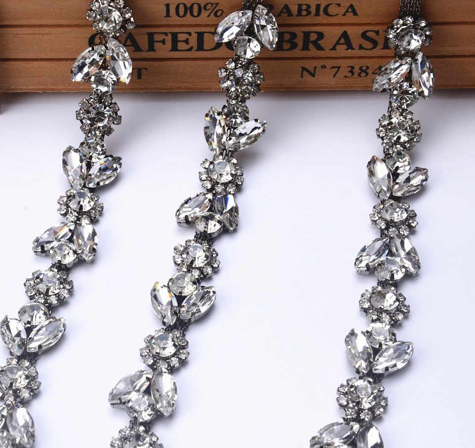 1 Yard Beautiful Rhinestone Crystal gun Tone Chain Costume Applique Trims  Sewing 1f6b4b972640