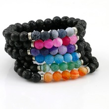 New Design High Quality Black Lava Stone Jewelry Matte Onyx Beads Stretch Women & Mens Energy Yoga Gift Bracelets