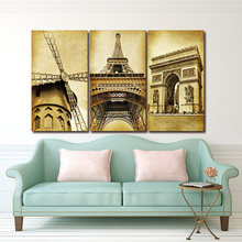 3 Piece Wall Art Europe Architecture Paris Prints Oil painting On Canvas Art Deco For home decoration Picture(No Frame)(China)