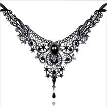 Fashion Necklaces For Women Beauty Girl Handmade Jewerly Gothic Retro Vintage Lace Necklace Collar Choker Necklace bib gem chain(China)