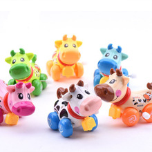 2017 Hot newborn baby clockwork toy funny baby Zoo, Baby cartton cow design Running Clockwork Spring Toy wind up toy Wholesale(China)