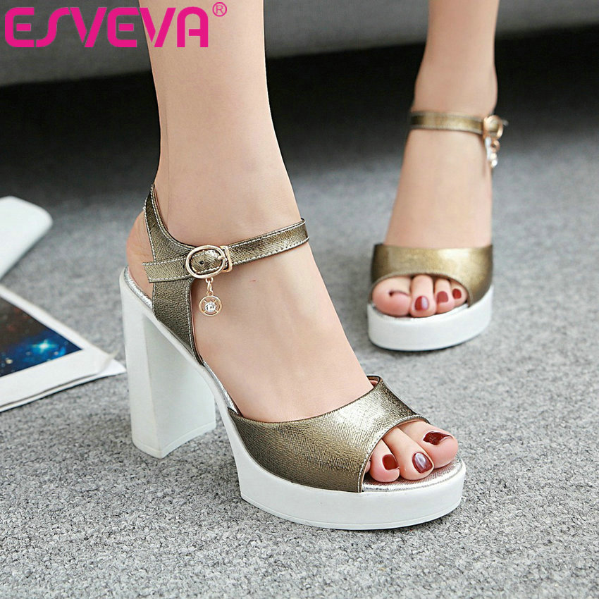 ESVEVA 2017 Woman Pumps Peep Toe Buckle Strap  Summer Women Shoes Platform Square High Heel Wedding /Dating Shoes Big Size 34-41<br>