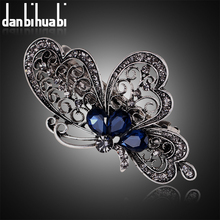 Fashion blue butterfly hair clip for women luxurious girls hair accessories trendy animal hairs accessoires jewelry china(China)