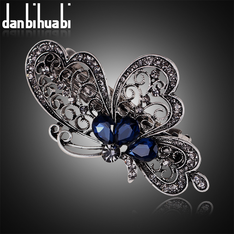 Fashion blue butterfly hair clip for women luxurious girls hair accessories trendy animal hairs accessoires jewelry china(China (Mainland))