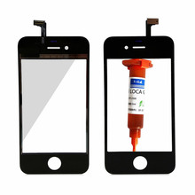 For apple 4s Touch Screen Digitizer glass Lens Sensor Replacement parts for iphone 4s touch panel +1pcs TP-2500 5ml UV glue