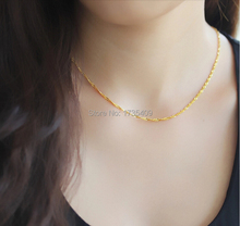 999 Solid 24K Yellow Gold Chain Necklace/ Singapore Link Chain Necklace/ 3.25g(China)