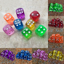10Pcs 16mm Acrylic Transparent Round Corner Dice Clear Drinking Dice Portable Table Playing Game 7 Colors(China)