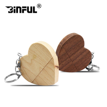 heart shape Pen Drive 32GB 64GB wooden USB Flash Drive 4GB 8GB Memory Flash Pendrive 16GB 128GB Stick u disk wooden lovely gift(China)