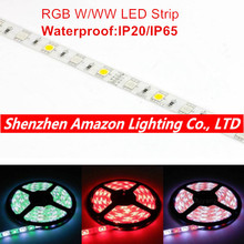 5M RGBW 5050 LED strip Light Waterproof IP20/65 DC12V SMD 60Leds/M 300 LEDS Flexible Bar Light strips RGB + White/WW light